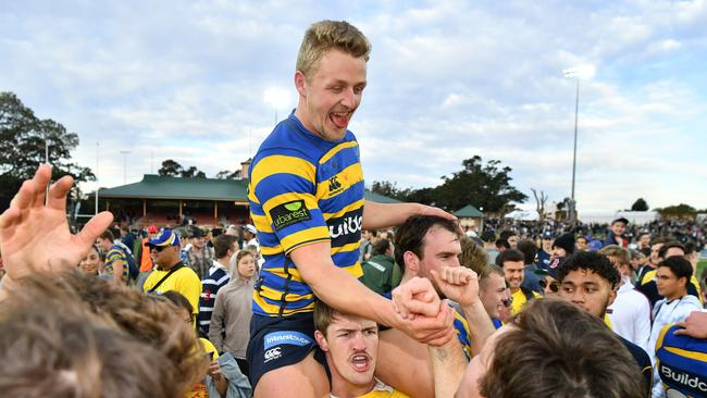 Stuart Dunbar of Sydney University celebrates victory at North Sydney Oval.