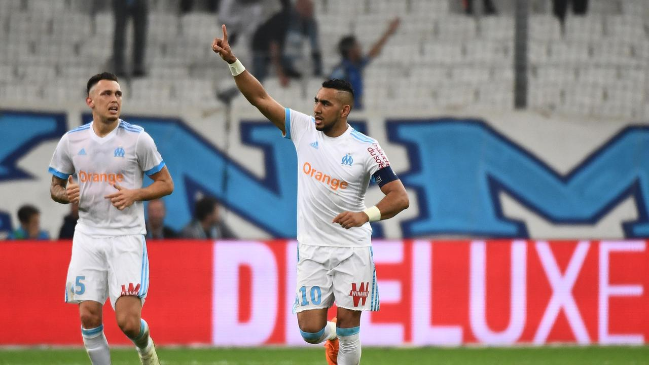 Olympique de Marseille's French forward Dimitri Payet celebrates after scoring a goal