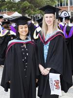 Adrelia Teo and Freja Svendsgaard at the UTAS Graduation at Launceston. PICTURE CHRIS KIDD