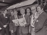 Former Prime Minister Bob Hawke with members of Messenger and Advertiser staff during a visit to the Messenger Press Newspaper in April 1984.