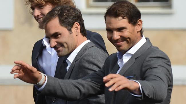 Europe stars Roger Federer and Rafael Nadal pose for photos ahead of the Laver Cup.