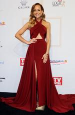 Carrie Bickmore arrives on the red carpet at the 59th annual TV Week Logie Awards on April 23, 2017 at the Crown Casino in Melbourne, Australia. Picture: AAP