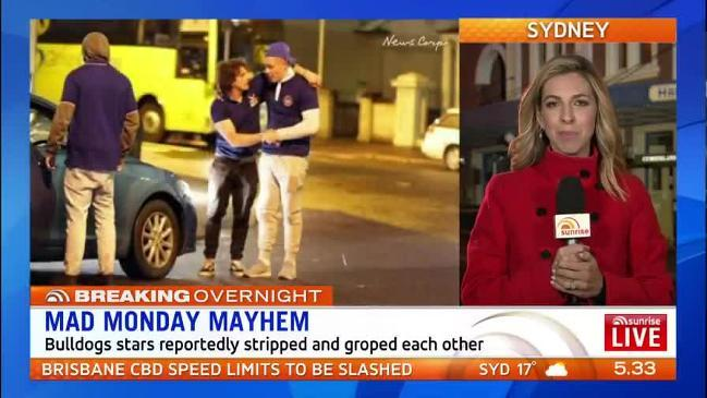 NRL Bulldogs players have been photographed naked, vomiting in the streets ( Sunrise )