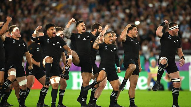 New Zealand players perform the haka prior to the Rugby World Cup 2019 Semi-Final match between England and New Zealand at International Stadium Yokohama (Photo by Cameron Spencer/Getty Images)