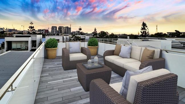 The home has a rooftop deck to take in the sun set.