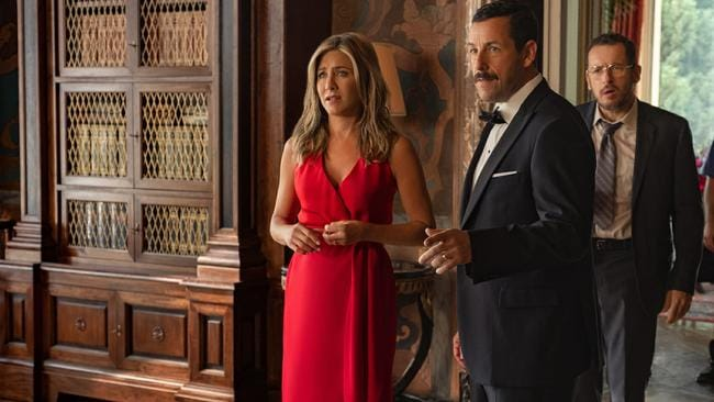 Famous co-stars Jennifer Aniston and Adam Sandler reunite for this lightweight comic tribute to Agatha Christie. Picture: Supplied.