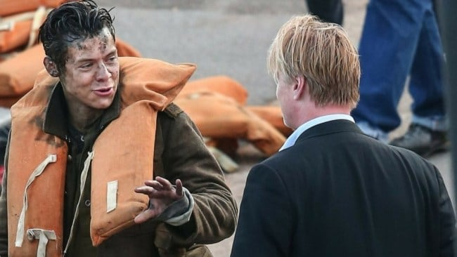 Harry Styles and Christopher Nolan on the set of 'Dunkirk'. Photo: Youtube