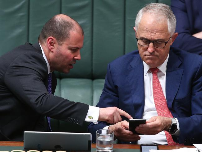 Environment and Energy Minister Josh Frydenberg and PM Malcolm Turnbull. Picture: Kym Smith