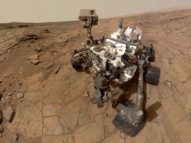 Say cheese ... a self-portrait taken by the NASA rover Curiosity in Gale Crater on Mars. Picture: AP Photo/NASA