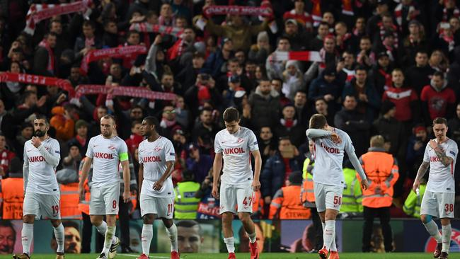 Spartak Moscow players after the 7-0 loss at Anfield.