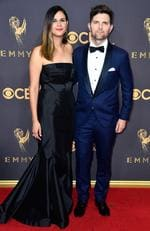 Naomi Scott and Adam Scott attend the 69th Annual Primetime Emmy Awards at Microsoft Theater on September 17, 2017 in Los Angeles. Picture: Getty