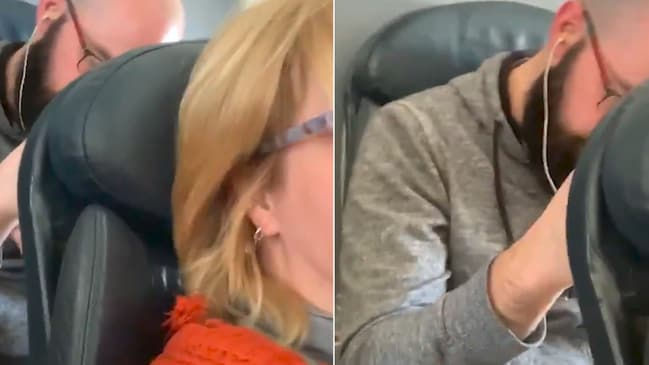 Man punches woman's seat on plane