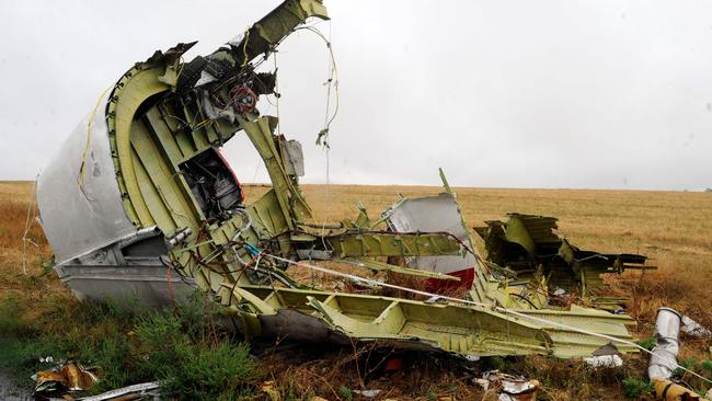 Part of the wreckage after the plane was downed by a missile. Picture: AFP/Alexander Khudoteply