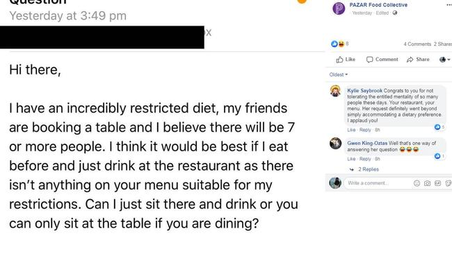 The email began with the diner asking if they could just sit at the table with their mates and drink as nothing on the menu was suitable for them. Picture: Facebook/PazarFoodCollective