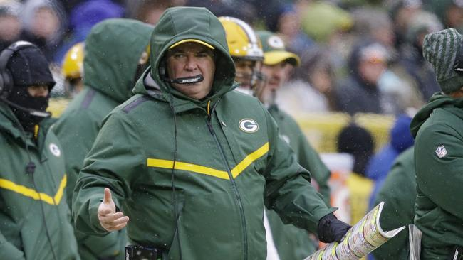 Mike McCarthy reacts during the Green Bay Packers' loss to Arizona.