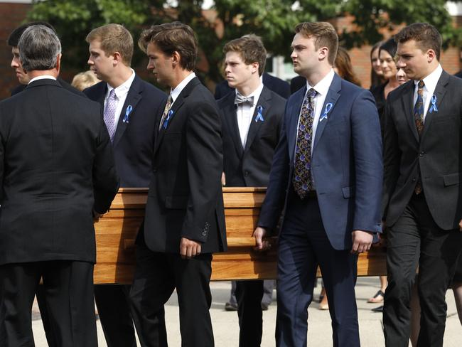 This file photo taken on June 21, 2017 shows the casket of Otto Warmbier as it is carried out from his funeral at Wyoming High School in Wyoming, Ohio. Picture: AFP