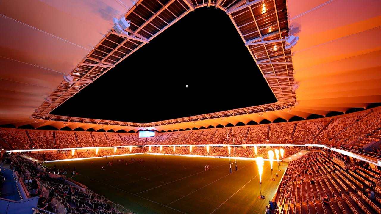 The lights show at Bankwest Stadium looks incredible. (Photo: Cameron Spencer/Getty Images)