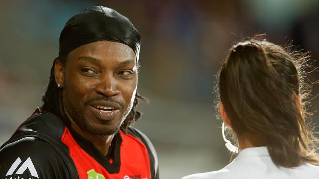 Melbourne Renegade master blaster Chris Gayle was lambasted for his comments to Network 10's Mel Mclaughlin a Big Bash League interview. Picture: Getty Images