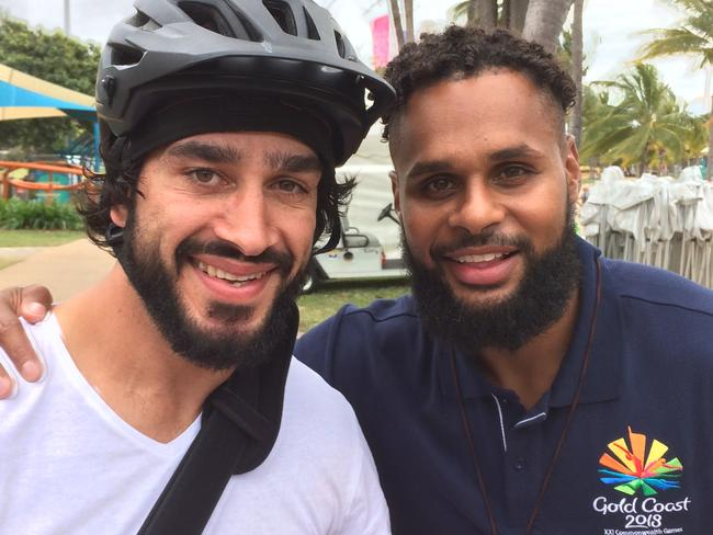 Patty Mills and Johnathan Thurston. Photo courtesy of Tourism and Events Queensland.