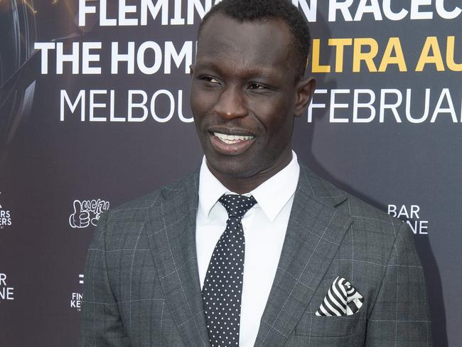 Majak Daw attending the Spring Racing Carnival.