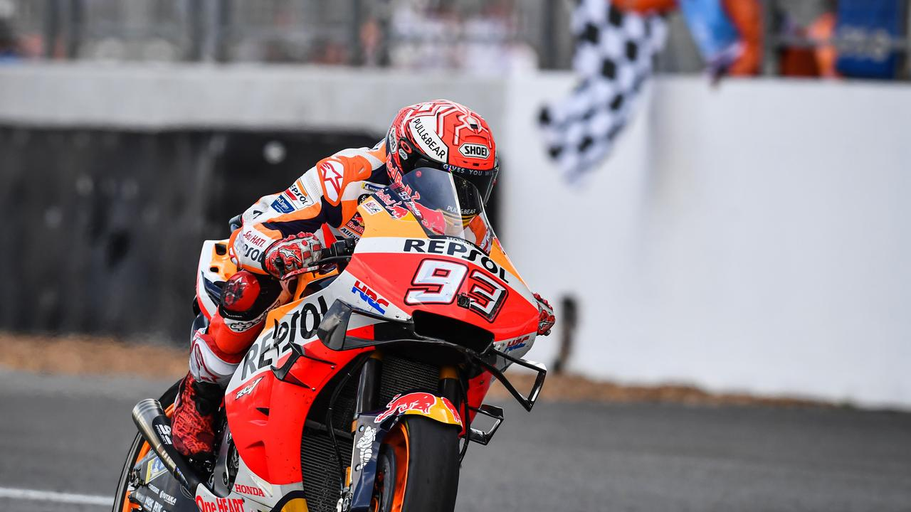 Marquez crosses the finish line to win in Buriram. Picture: Lillian Suwanrumpha