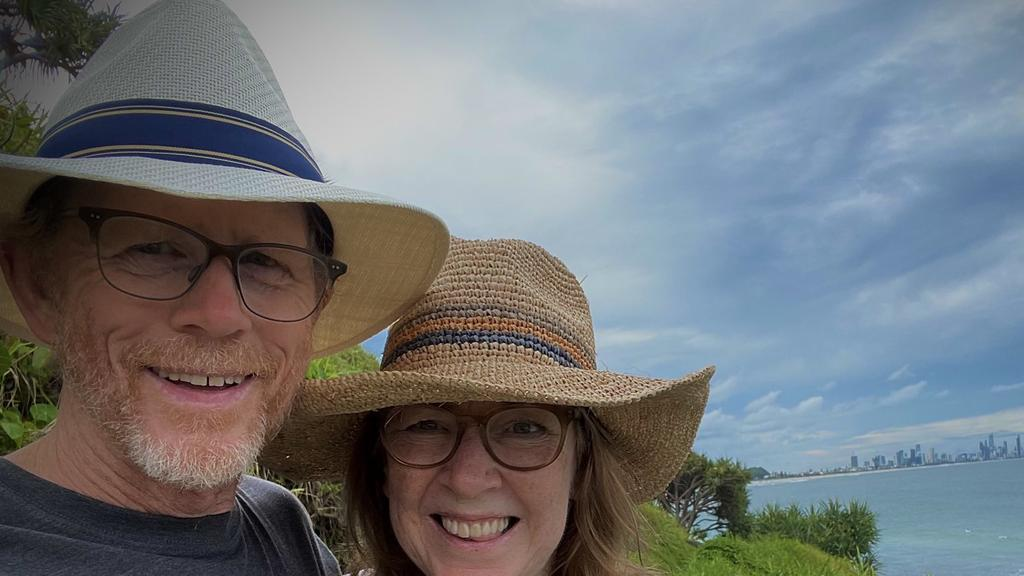 Powerhouse director Ron Howard and his wife Cheryl enjoying their time on the Gold Coast. Picture: Twitter
