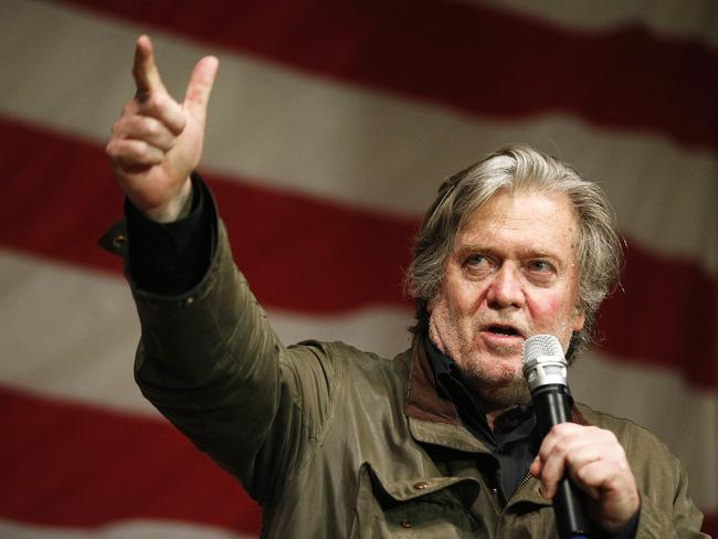 Former White House strategist Steve Bannon speaks during a rally for US senate hopeful Roy Moore. Picture: AP Photo/Brynn Anderson
