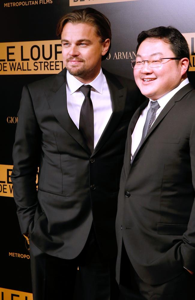 Jho Low with actor Leonardo Di Caprio at 'The Wolf of Wall Street' premiere in Paris. Picture: Bertrand Rindoff Petroff.