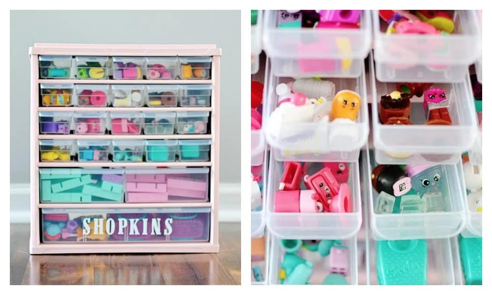 SHOPKINS STORAGE UNIT - If your tackle box isn't satisfying all of your storage needs and the little cupcakes are now spilling out of their current home, consider investing in a bigger hardware organiser and pimping it out Shopkins style. This unit is a great way to keep them all in one place. Image: Bre Pea / Via Pinterest