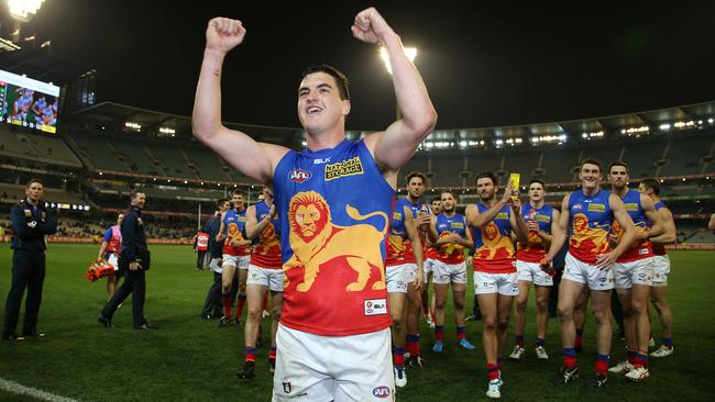Tom Rockliff cheered off after his 100th game. Picture: George Salpigtidis