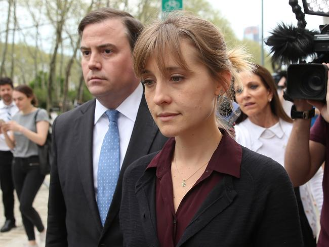 Actor Allison Mack departs the United States Eastern District Court after a bail hearing in relation to the sex trafficking charges filed against her on May 4, 2018. Picture: AFP