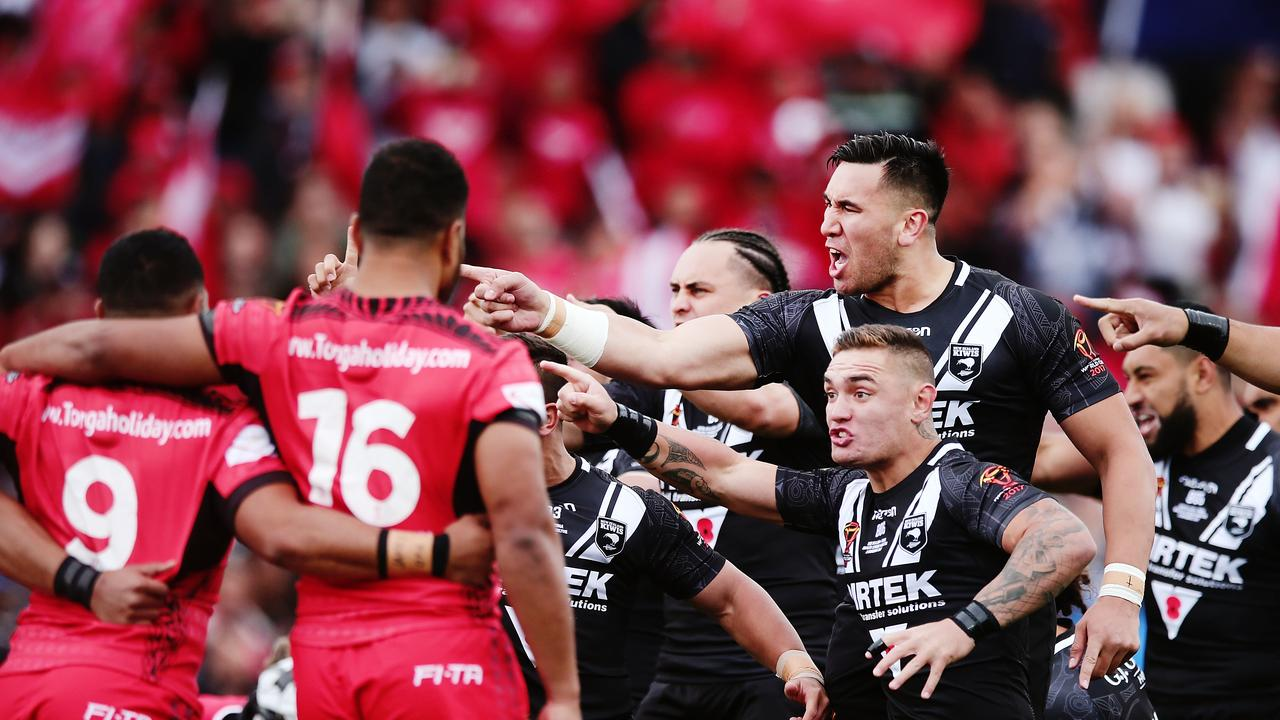 Nelson Asofa-Solomona of the Kiwis performs the haka against Tonga during the Rugby World Cup 2017