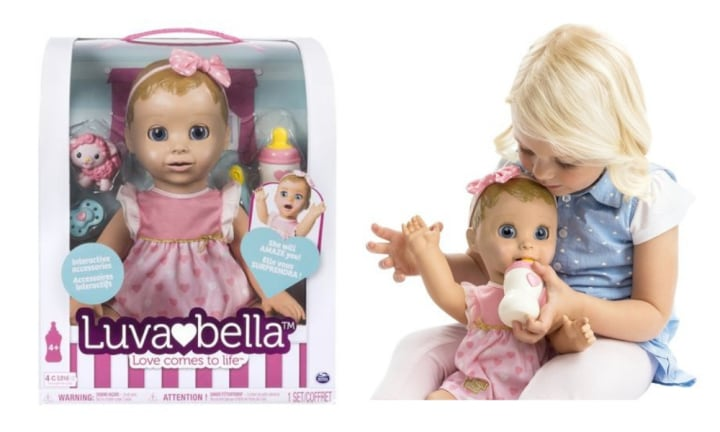 <b>3. LUVABELLA.</b> Discover so many real baby surprises with Luvabella! From the moment she opens her eyes and giggles, Luvabella will amaze your child with her true-to-life facial expressions and personality! She moves, talks and plays just like a real baby and comes in either blond or brunette. $125.00 at Kmart.