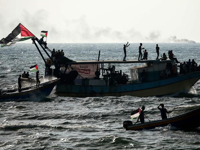 Palestinians protest against the more than a decade-long naval blockade of Gaza on the border with Israel in the northern Gaza Strip. Picture: Mahmud Hams / AFP