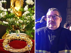 Father Jean-Marc fournier and the Crown of Thorns. Picture: Supplied.