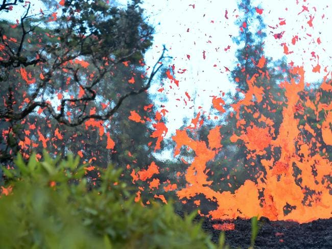 Lava is seen spewing from a fissure in the Leilani Estates subdivision on Hawaii's Big Island on May 4. Picture: AFP