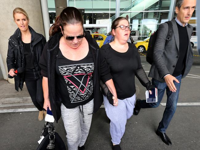 Cassandra Sainsbury's mother Lisa Evans and sister Khala Sainsbury arrive at El Dorado international Airport in Bogota with a 60 Minutes film crew. Picture: Nathan Edwards