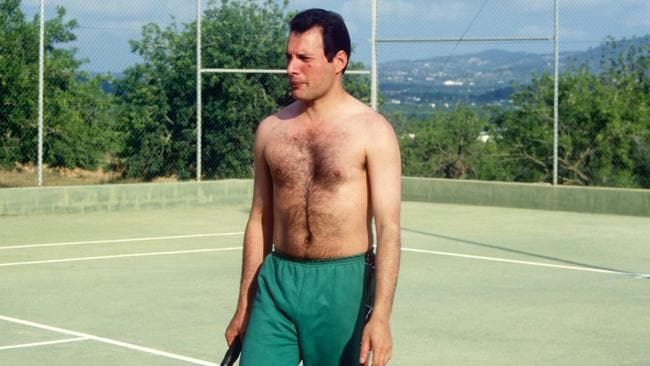 Freddie Mercury on the tennis court at the Pikes Hotel in Ibiza on May 28, 1987.