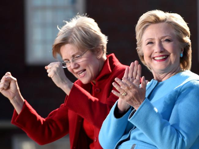 US Democratic presidential candidate Hillary Clinton (R) and Senator Elizabeth Warren. Picture: AFP