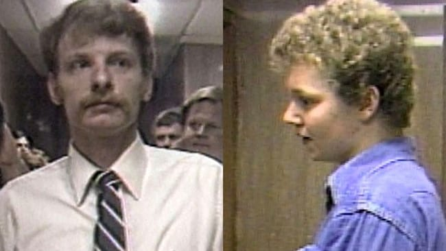 Stephen West (left) was 23 and his co-accused Ronnie Martin (right) 17 when they raped and murdered Sheila Romines and killed her mother Wanda. Picture: WBIR-TV.