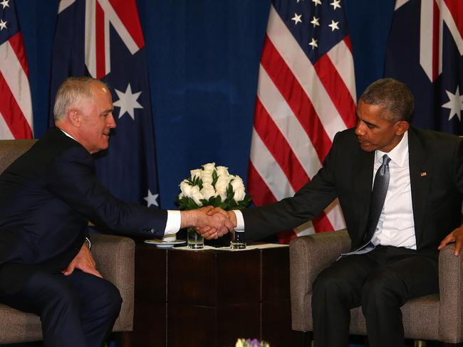 Prime Minister Malcolm Turnbull and former US President Barack Obama revealed the deal last November. Picture: Kym Smith