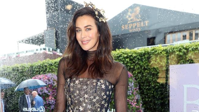 Megan Gale in the Lexus marquee at the Melbourne Cup last year. Picture: Alex Coppel