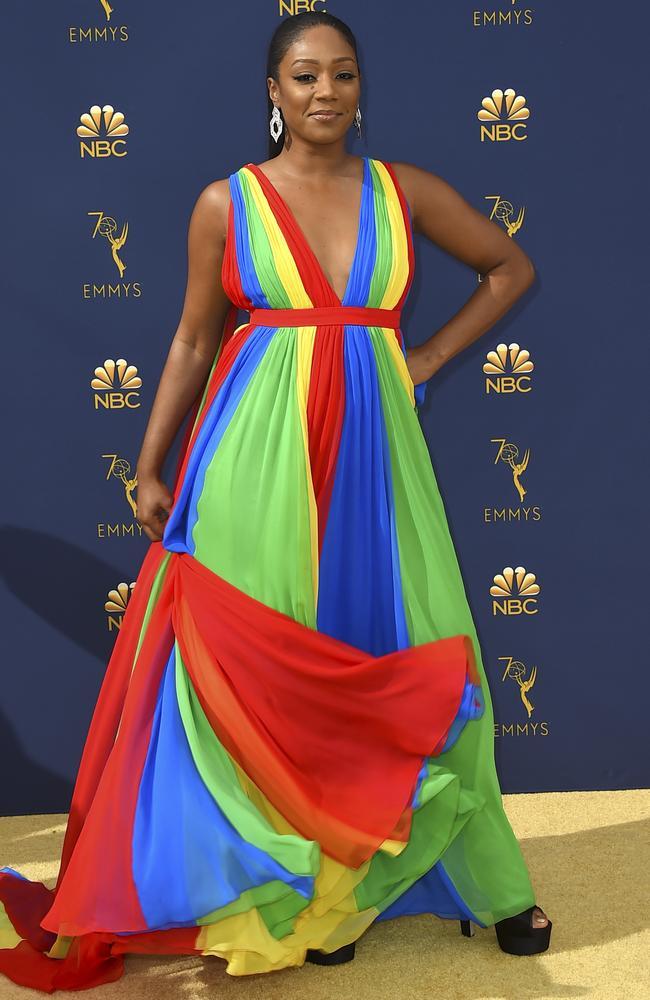 Tiffany Haddish dressed as Mariah Carey's most underrated album, Rainbow. Picture: AP