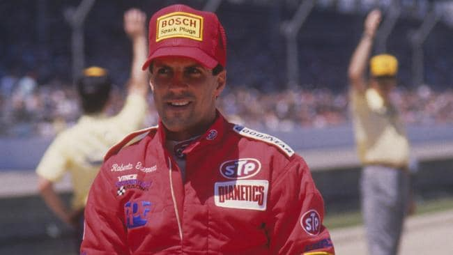 Even Roberto Guerrero's driving suit was branded with Dianetics. Picture: Focus on Sport/Getty Images