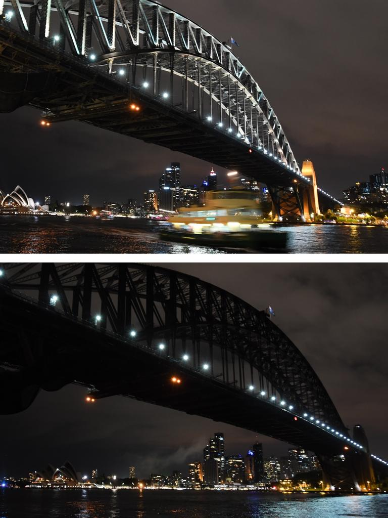 Sydney Harbour Bridge, Sydney Opera House and the city skyline before and during Earth Hour 2017. Picture: AAP