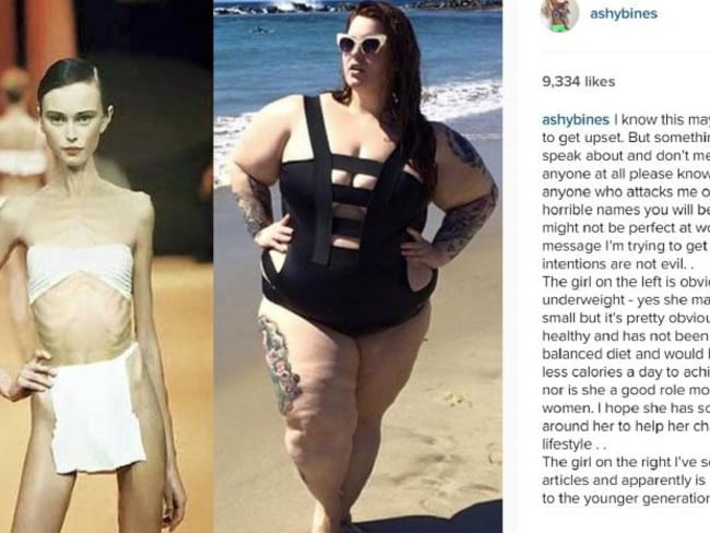 The post from Ashy Bines featured an image of deceased model Ana Carolina Reston and plus-size model Tess Holliday. Picture: Instagram/Ashy Bines
