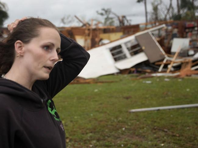 Haley Nelson stands in front of what is left of one of her father's trailer homes after Hurricane Michael passed through the area in Panama City, Florida. Picture: Getty