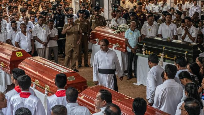 A mass funeral at St Sebastian Church in Negombo, Sri Lanka. Picture: Carl Court/Getty Images