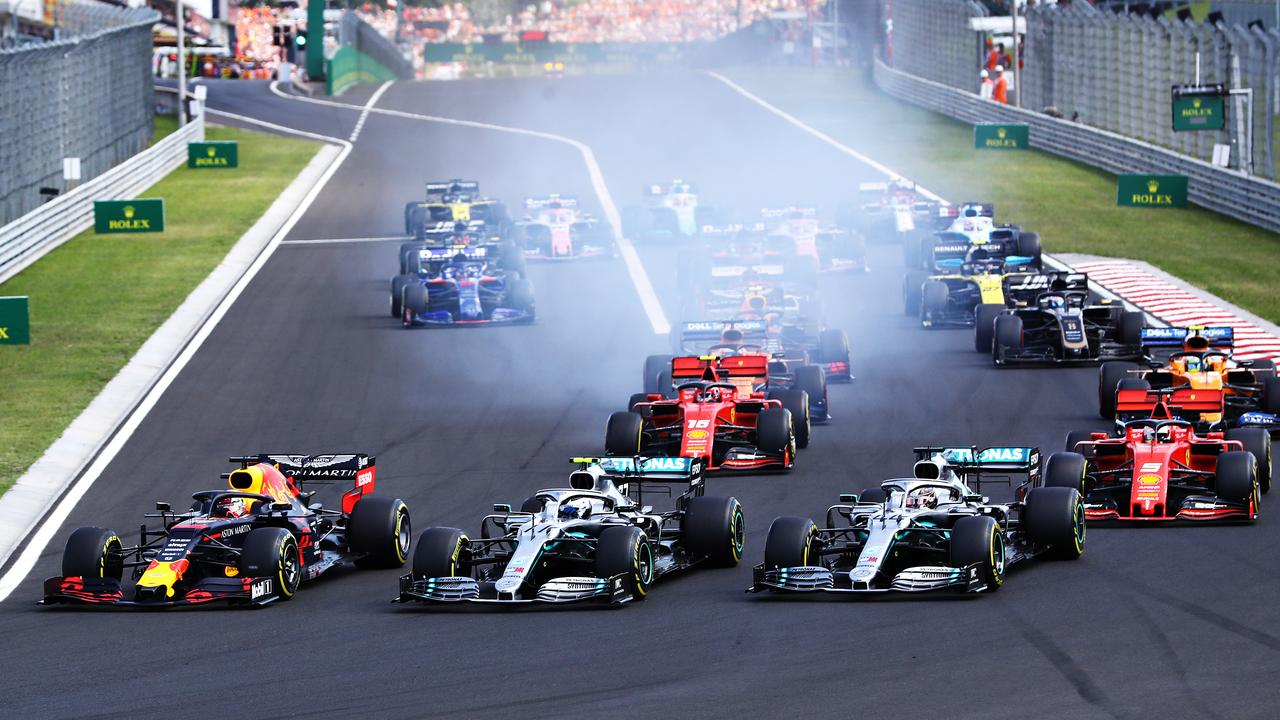 The Hungary start — about as close as Ferrari got to Mercedes and Red Bull that weekend.