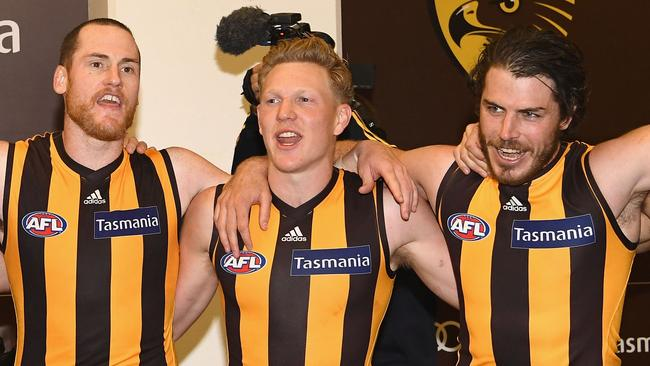 Jarryd Roughead, James Sicily and Isaac Smith (Photo by Quinn Rooney/Getty Images)